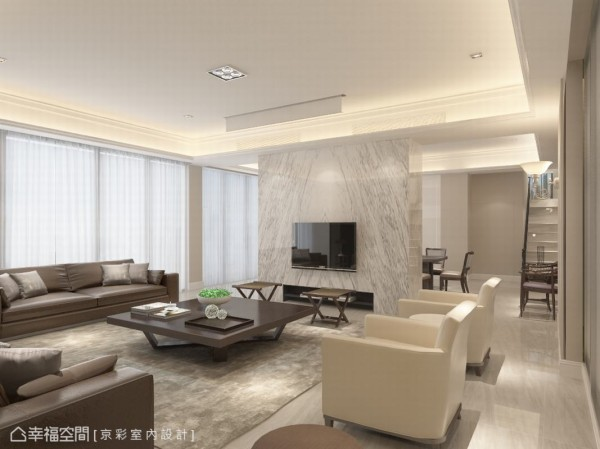 为让四空间更进一步对话,设计师王立峥更于客厅设定出半高电视主墙,双动线打造完整公领域流畅度。(此为3D合成示意图)