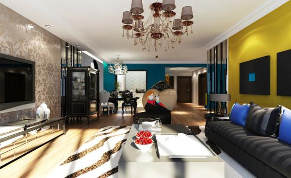 餐厅设计: 餐厅利用大幅现代画作为背景,融合于整个现代空间中。让空间更加生动自然。中和黑白调子带来的生硬感。餐厅选用蓝色墙面和客厅背景形成鲜明的色彩对比。并且通过黑白镜面的反射产生更加多变灵动的效果。