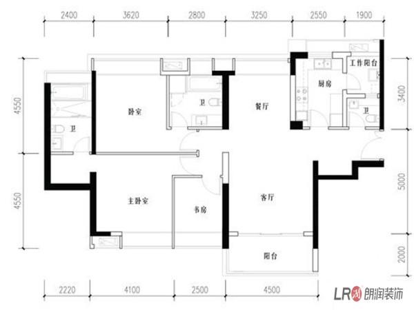成都ICC  4号楼户型  3室2厅2卫1厨  152.00㎡