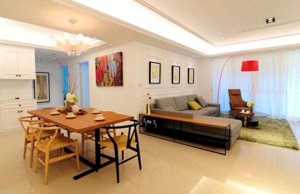 餐厅,原木质感的餐、桌椅,增添用餐时的温暖气氛。