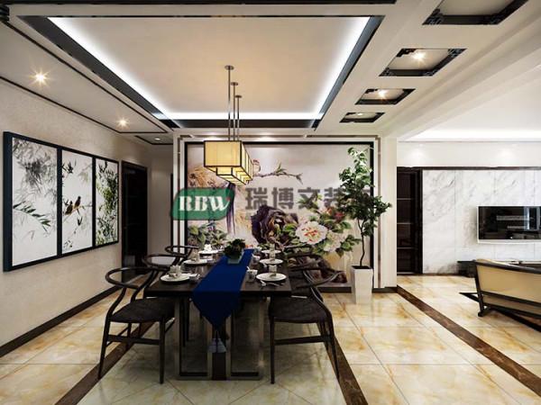 入户餐厅,首先是在顶面划分了一下小走廊和餐厅两个区域。小走廊和餐厅背景墙是主设计,业主不喜欢圆桌和圆形的设计,所以改成现在这样了。餐厅背景墙做了一个小造型中间壁纸画为主。