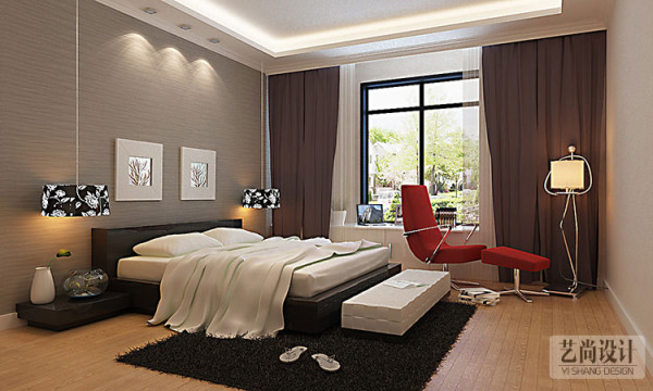 盛润锦绣城114平方卧室全景装修效果图,在颜色上的搭配很新意,重色为主,亮色点缀。