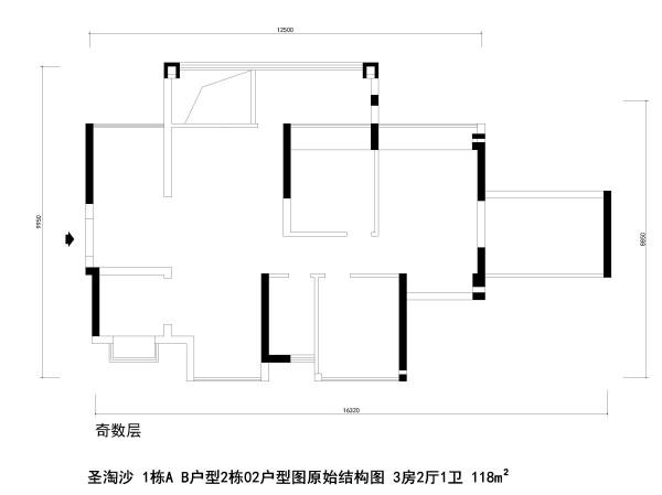 圣淘沙 1栋A B户型2栋02户型图原始结构图 3房2厅1卫 118m²