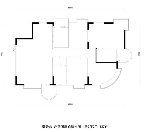 御景台 户型图原始结构图 4房2厅2卫 137m²