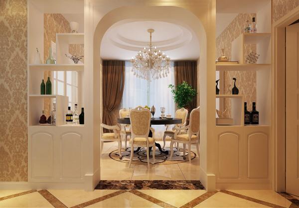 餐厅以镂空垭口酒柜和过道拱形景端形成对称,欧式风格图片