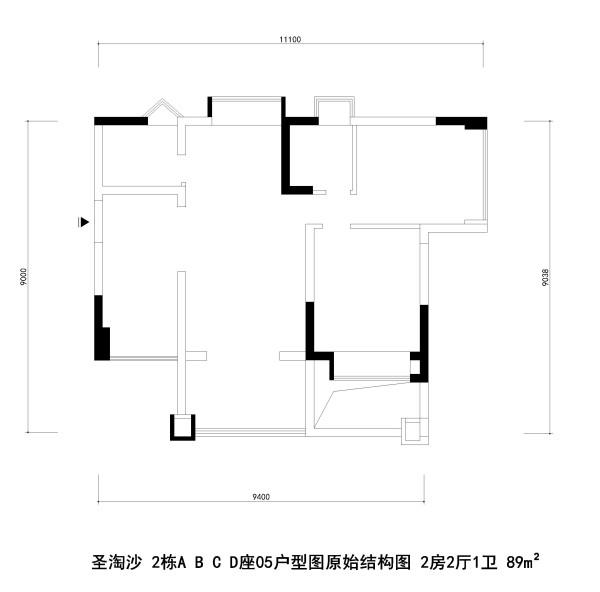 圣淘沙 2栋A B C D座05户型图原始结构图 2房2厅1卫 89m²