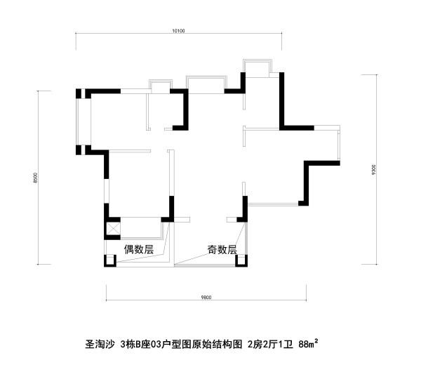 圣淘沙 3栋B座03户型图原始结构图 2房2厅1卫 88m²