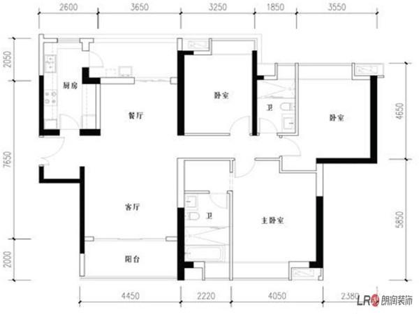 成都ICC  3号楼户型  3室2厅2卫1厨   159.00㎡