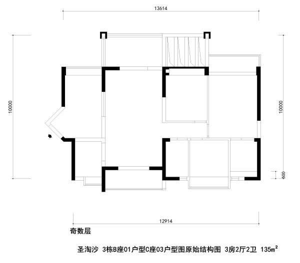 圣淘沙 3栋B座01户型C座03户型图原始结构图 3房2厅2卫 135m²