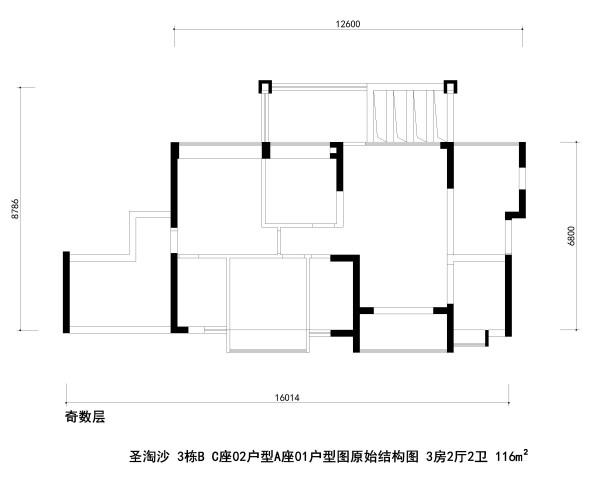 圣淘沙 3栋B C座02户型A座01户型图原始结构图 3房2厅2卫 116m²