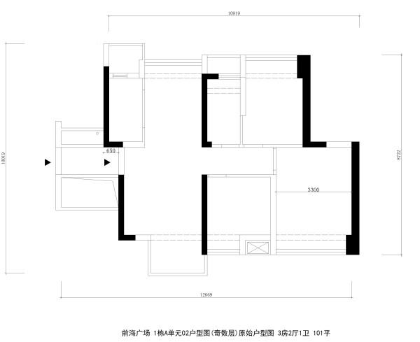 前海广场 1栋A单元02户型图(奇数层)原始户型图 3房2厅1卫 101平