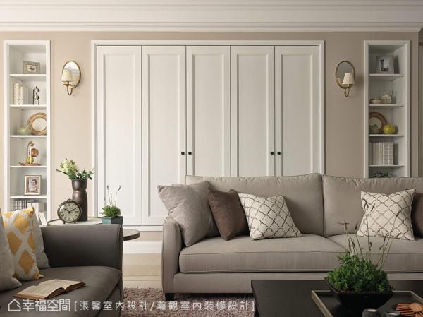 年轻的夫妻不追求过于华丽的古典形式,张馨设计团队以纯净、优雅的美式元素,搭配偏现代感的家具及具东方线条的饰品软件,呈现出空间的美感与温度。