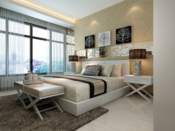 装修分风格应简洁。卧室的功能主要是睡眠休息,属私人空间,不向客人开放,所以卧室装修不必有过多的造型,通常也不需吊顶,墙壁的处理越简洁越好,通常刷乳胶漆即可,床头上的墙壁可适当做点造型和点缀。