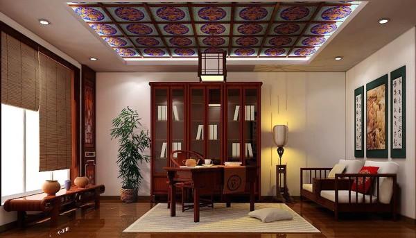 中式家具的颜色较重,虽可营造出稳重效果,但也容易陷于沉闷、阴暗,因此中式书房最好有大面积的窗户,让空气流通,并引入自然光及户外景致。以前还会有人在书房内外造些山水小景,以衬托书房的清幽。