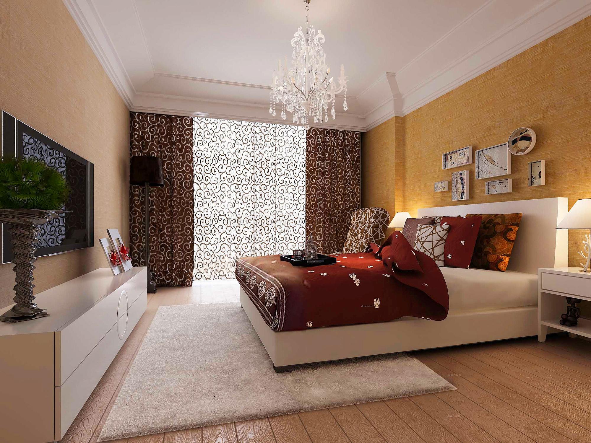 现代时尚白色 地毯 卧室 效果图 3d模型下载 3d