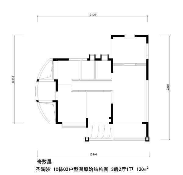 圣淘沙 10栋02户型图原始结构图 3房2厅1卫 120m²