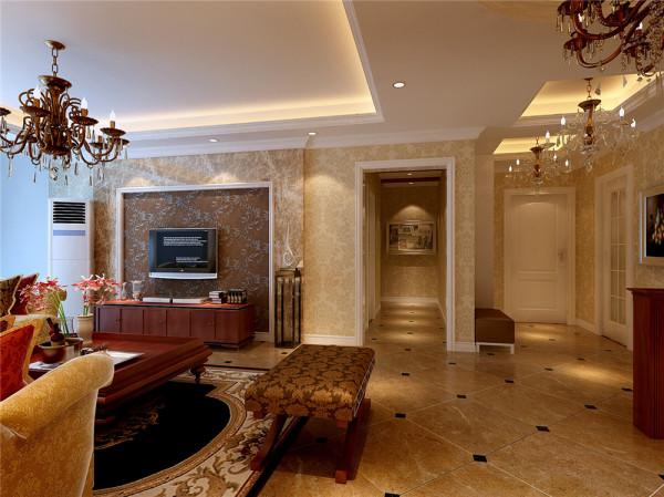 在餐厅向门厅方向放置一实木餐边柜,在其上放置高度合适的绿植及装饰物,这样既增加了空间的私密性又不会使得空间太狭小。在门厅右方整体墙面做一衣帽柜,并放置换鞋凳。