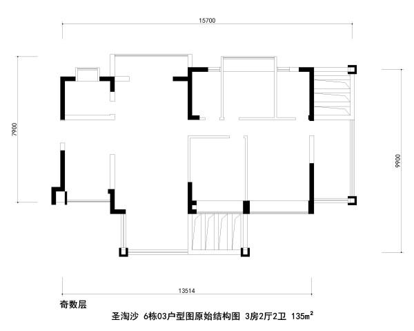 圣淘沙 6栋03户型图原始结构图 3房2厅2卫 135m²