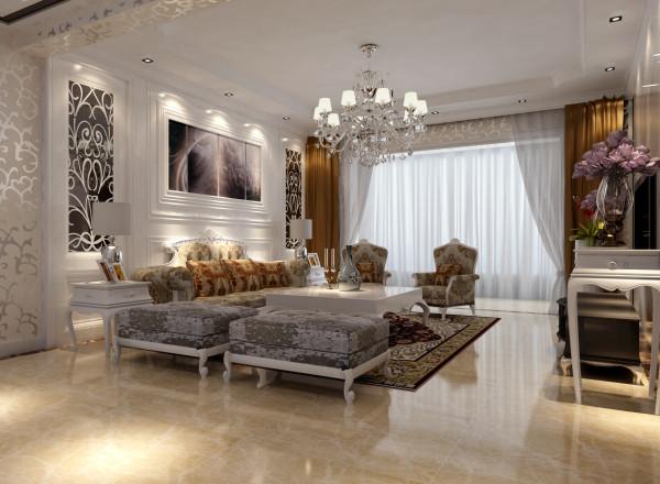 欧式的客厅有的不只是豪华大气,更多的是意境和浪漫。通过完美的曲线,精益求精的细节处理,带给家人不尽的舒适触感,实际上和谐是欧式风格的最高境界。