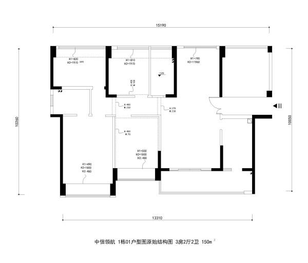 中信领航 1栋01户型图原始结构图 3房2厅2卫 150m²