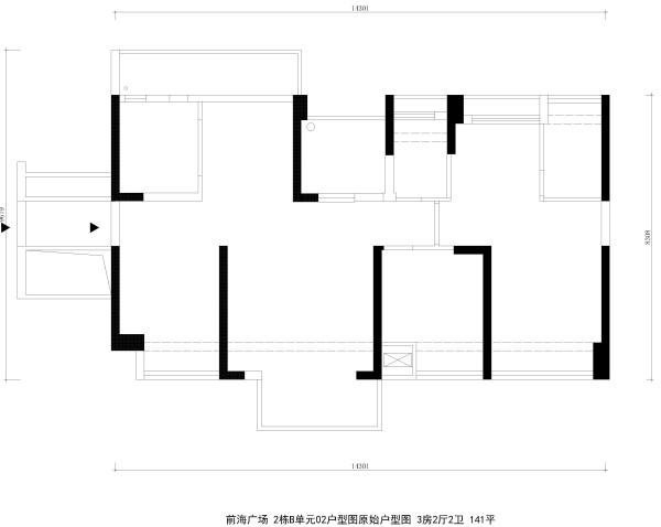 前海广场 2栋B单元02户型图原始户型图 3房2厅2卫 141平