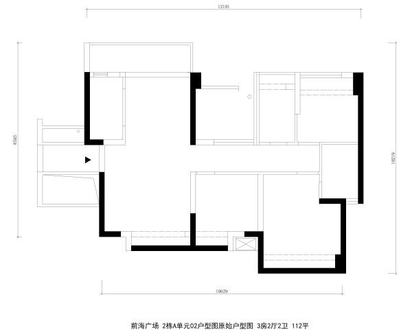 前海广场 2栋A单元02户型图原始户型图 3房2厅2卫 112平