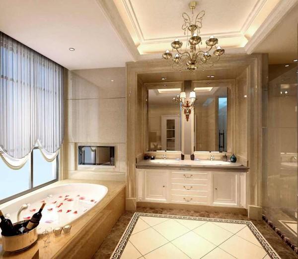 卫生间形成极具品位的装饰效果,将奢华的欧式风情演绎得淋漓尽致