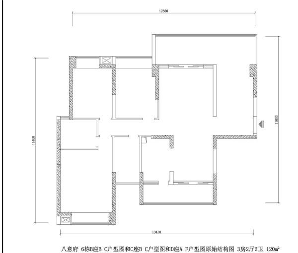 八意府 6栋B座B C户型图和C座B C户型图和D座A F户型图原始结构图 3房2厅2卫 120m²