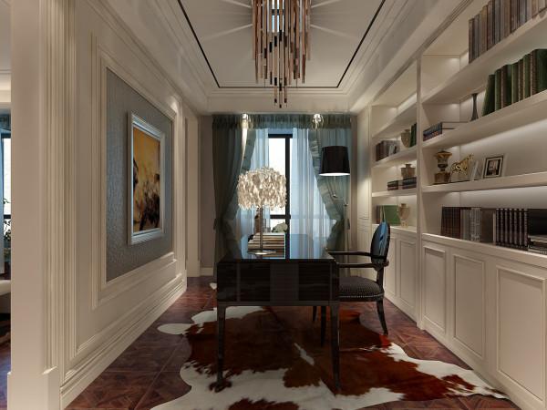 书房与卧室浑然一体却又是各自独立。纯白调性的书墙,与充满古典语汇的家具家饰书房的人文气息在此蔓延。与整个空 间交融在一起,这些设计让业主在自己家中完全的放松,体验家的温馨!