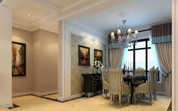 餐厅设计: 餐厅采用相对简单的欧式风格,与客厅相比主次分明。充满强烈的动感效果室内多采用带有图案的壁纸、地毯、窗帘、及古典装饰画,体现华丽的风格。