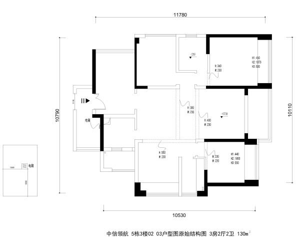 中信领航 5栋3楼02 03户型图原始结构图 3房2厅2卫 130m²