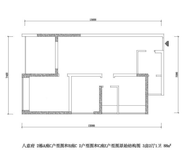 八意府 2栋A座C户型图和B座C D户型图和C座E户型图原始结构图 3房2厅1卫 88m²