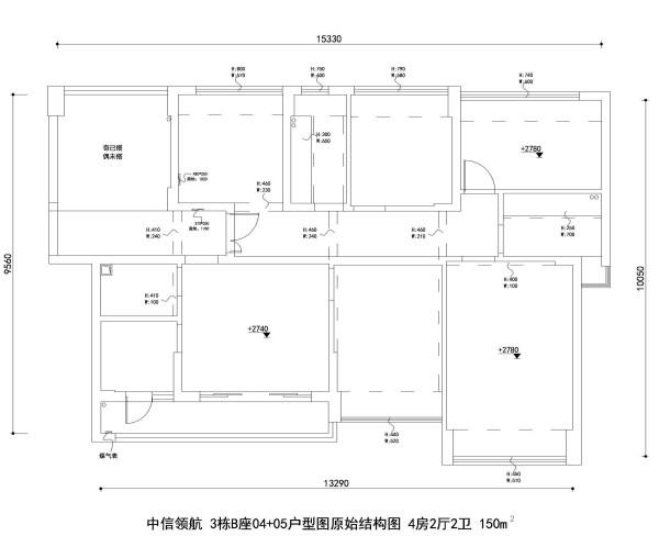中信领航 3栋B座04+05户型图原始结构图 4房2厅2卫 150m²