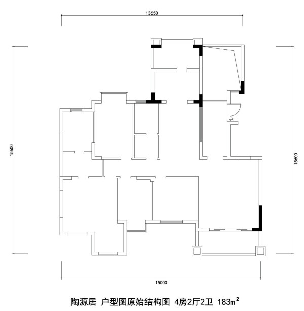 陶源居 户型图原始结构图 4房2厅2卫 183m²