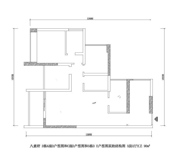 八意府 2栋A座D户型图和C座D户型图和3栋D E户型图原始结构图 3房2厅2卫 90m²
