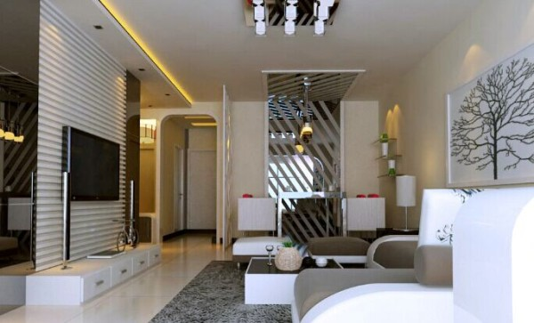 电视墙的隐形门处理方式更能使电视墙增大,使客厅空间显得更加大气。