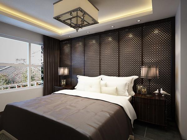 整个卧室床头背景墙的木雕花打造出独属中式假装的美