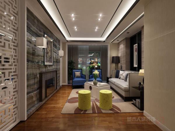 客厅地面采用实木地板,简单、大方、明了。顶面反光灯槽与木线条造型吊顶,不复杂、简易。电视背景墙运用天然石材、花格、镜面,考虑到业主是个画家,利用石材的纹理与画家的水墨画相结合,突出画家的专业审美观。