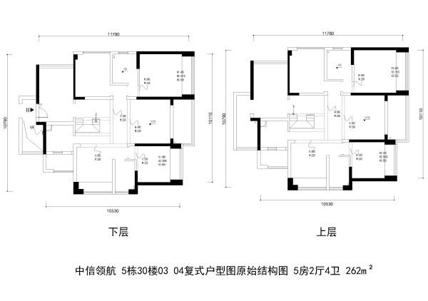 中信领航 5栋30楼03 04复式户型图原始结构图 5房2厅4卫 262m²