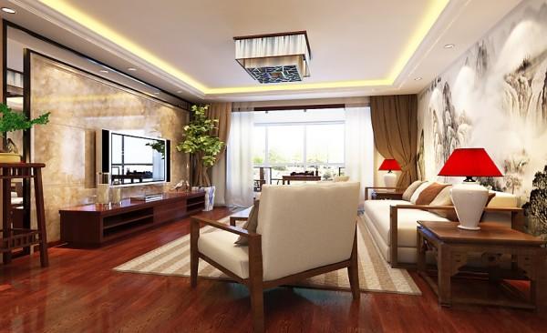客厅设计: 客厅为中式风格,典雅,富有文化气息,给人心灵的安静与厚重之感。棕色的地面犹如坚实的大地承载着华夏,而清亮的屋顶犹如九十九重天际一般白云朵朵。
