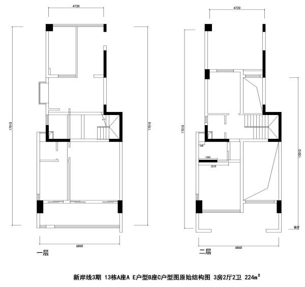 新岸线3期 13栋A座A E户型B座C户型图原始结构图 3房2厅2卫 224m²