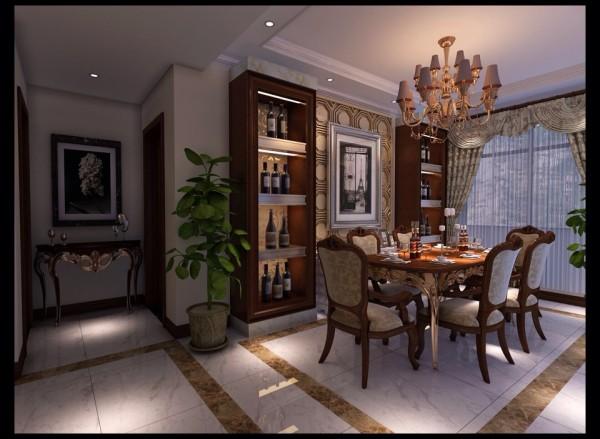 【餐厅】餐厅的硬装修简约大方,用酒柜作为装饰,空间的利用率和装饰两不耽误。欧式猫脚餐桌椅设计,优雅的弧形线条,让您在就餐的同时,享受欧式贵族式的华丽体验。