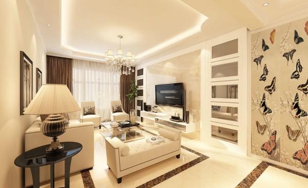 客厅设计: 客厅以简欧风格为主,以象牙白为主色调,以深灰色为辅。,使客厅更为清新、也更符合中国人内敛的审美观念。客厅采用简欧式沙发搭配地面的拼花,使得会客空间充满了温馨,大气的气息。