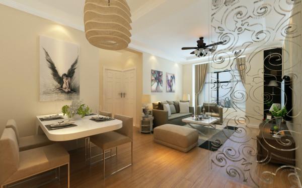 由于客厅空间利用率,在餐厅的设计上行,设计师充分考虑到业主一家三口的用餐空间,选用挂墙式餐桌,将餐桌固定在墙面,餐桌背景墙采用黑白相间画面装饰,现代简约风格的U型沙发组合。提升了整个空间的设计感。