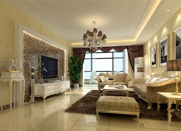 设计理念:大气、简约、舒适,体现业主的内涵品性。 亮点:电视背景墙马赛克的运用提升了空间品质感。顶面线条将原来的简约吊顶与现在的欧式风格完美衔接。壁纸的选择使空间更加豪华温馨。