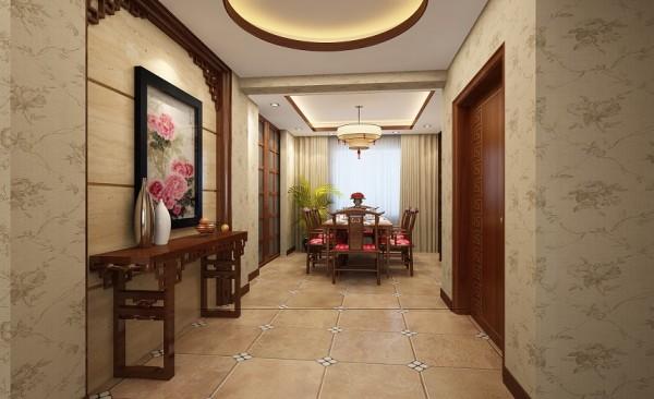 餐厅设计: 餐厅采用中式古典的桌椅,古韵的造型配合活泼的颜色,让业主用餐时的心情愉快而舒适。靠近宽大的窗户以及头顶的吊灯,让餐厅不论昼夜,光线都很充足。