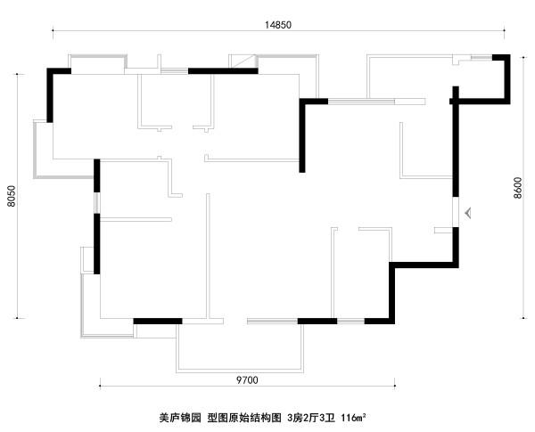 美庐锦园 户型图原始结构图 3房2厅3卫 116m²
