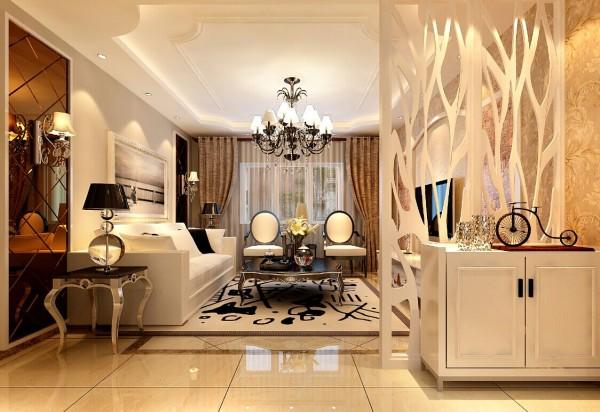 客厅的沙发背景墙用茶色的烤漆玻璃作为装饰,中间大幅挂画,彰显了欧式的大气和华贵。