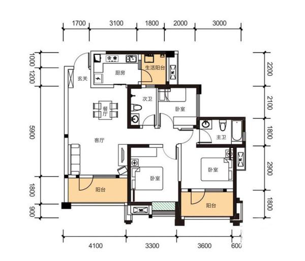 华润二十四城   5期1栋B6户型    3室2厅2卫1厨    107.00㎡