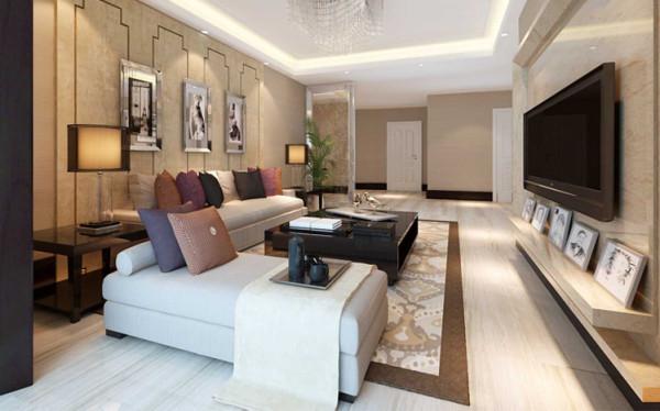 石材的电视墙,木工板造型的沙发背景墙以及玻璃隔断。亮光系列家具,石材造型以及木工板造型渲染客厅的简洁,大方,时尚。从室内墙地面及顶面设计到家具陈设